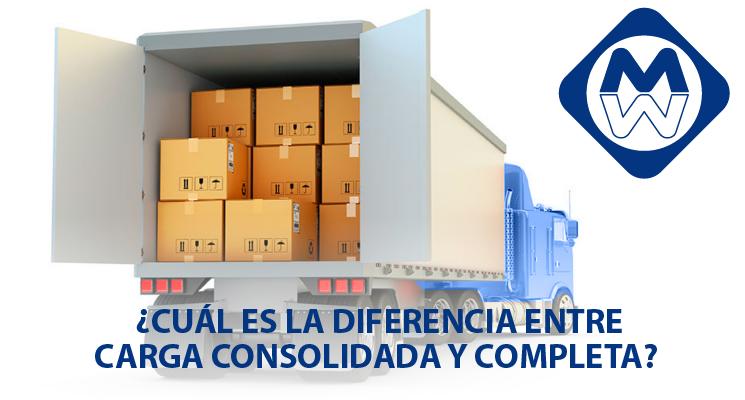 ¿Cuál es la diferencia entre carga consolidada y completa?